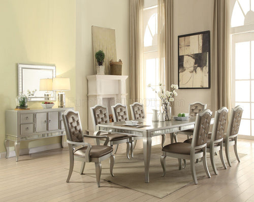 Acme Francesca 11 Piece Champagne Dining Table Set With Leaf