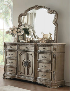Acme Furniture 26937 Northville Dresser In Wood Top Antique Champagne