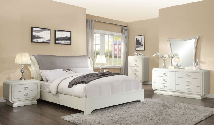 Acme 20390Q Bellagio 4 Piece High Gloss Finish Queen Bed Set
