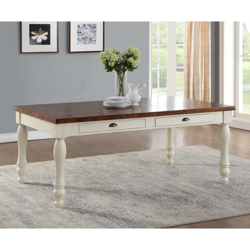 Acme Furniture 71770 Britta Brown & White Finish Dining Table