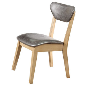 Acme Rosetta Gray Leather And Natural Wood Finish 2 Piece Dining Chair