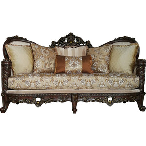 Acme 50685 Devayne Sofa With Pillows in Fabric & Ornate Dark Walnut