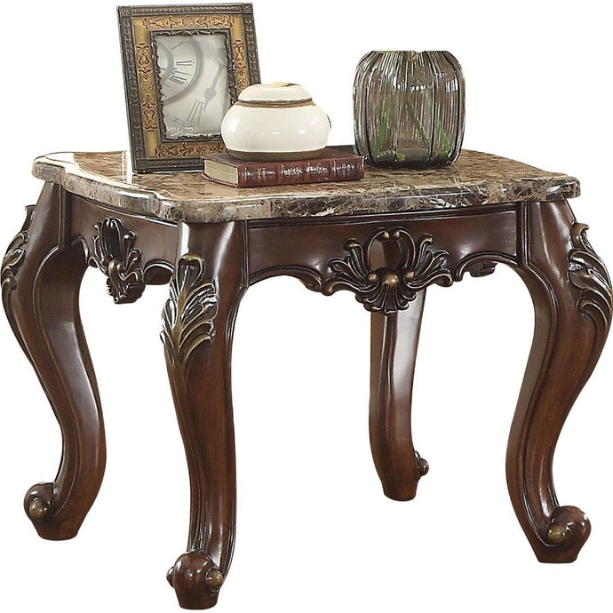 Acme Furniture 81687 Devayne End Table in Marble & Dark Walnut