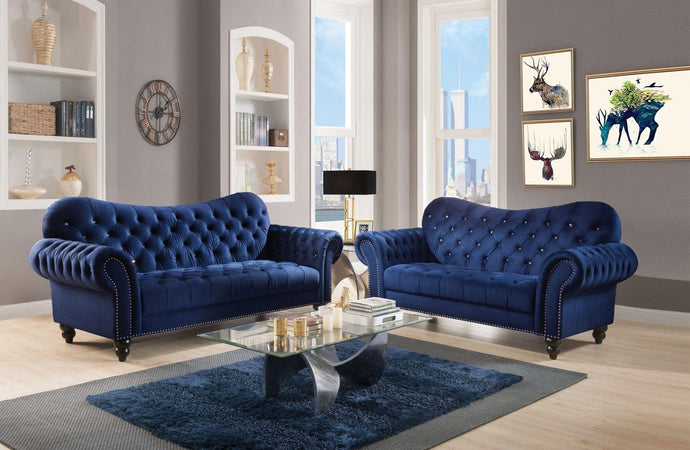 Acme 53405 Iberis Navy Velvet Finish Button Tuffed 2 Piece Sofa Set