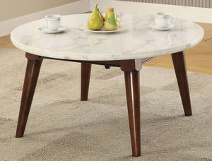 Acme Furniture 82890 Gasha Coffee Table in White Marble & Walnut