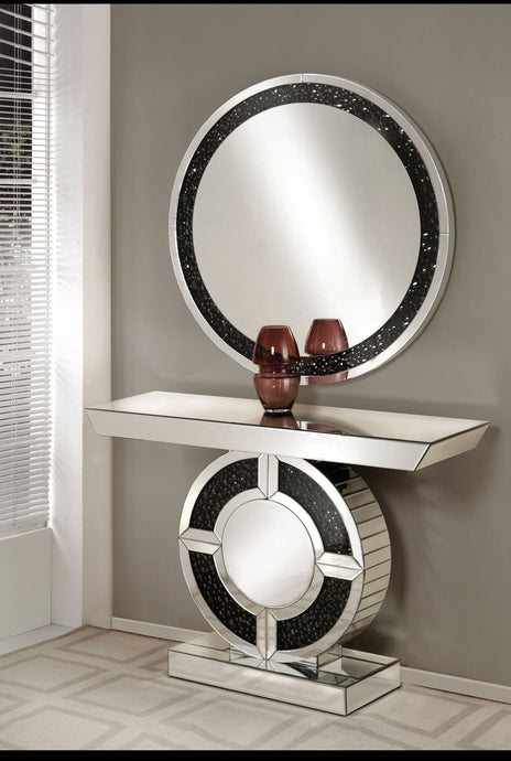 Acme 90236 Noor Gem Stones Finish Mirror Glass Console Table With Mirror