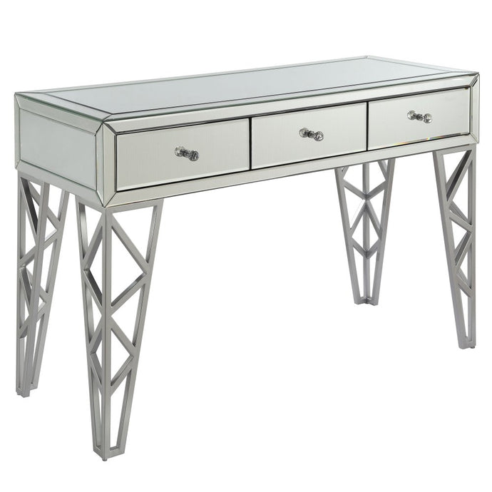 Acme 90057 Furniture Stephen Console Table Chrome Finish Metal Mirror