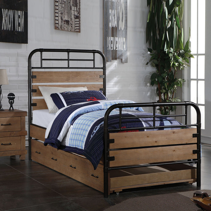 Acme 30610T Adams Oak Wood Finish Twin Bed With Trundle