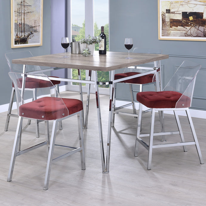 Acme 72170 Nadie II Chrome Natural Wood & Burgandy 5 Piece Bar Table Set