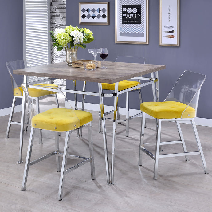 Acme 72170 Nadie II Chrome Natural Wood & Yellow 5 Piece Bar Table Set
