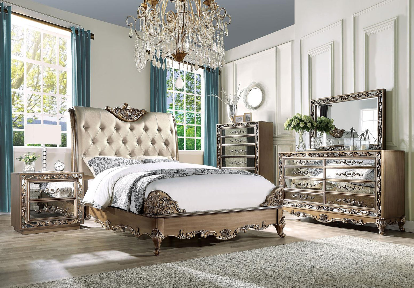 Acme 23790Q Orianne Gold Wood Finish 4 Piece Queen Bedroom Set