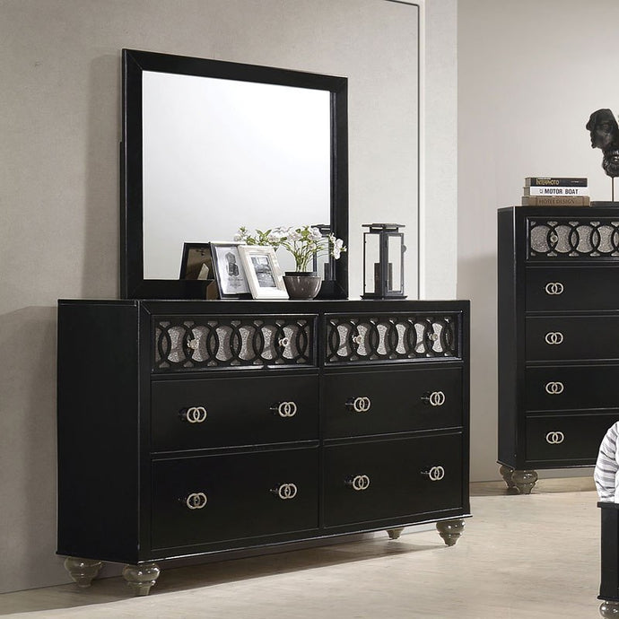 Acme 27075 Ulrik Black Wood Finish Transitional Dresser With Mirror