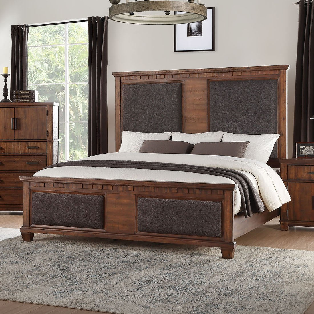 Acme 27160Q Vibia Brown And Cherry Wood Finish Queen Bed