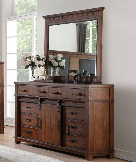 Acme 27165 Vibia Brown And Cherry Wood Finish Dresser With Mirror