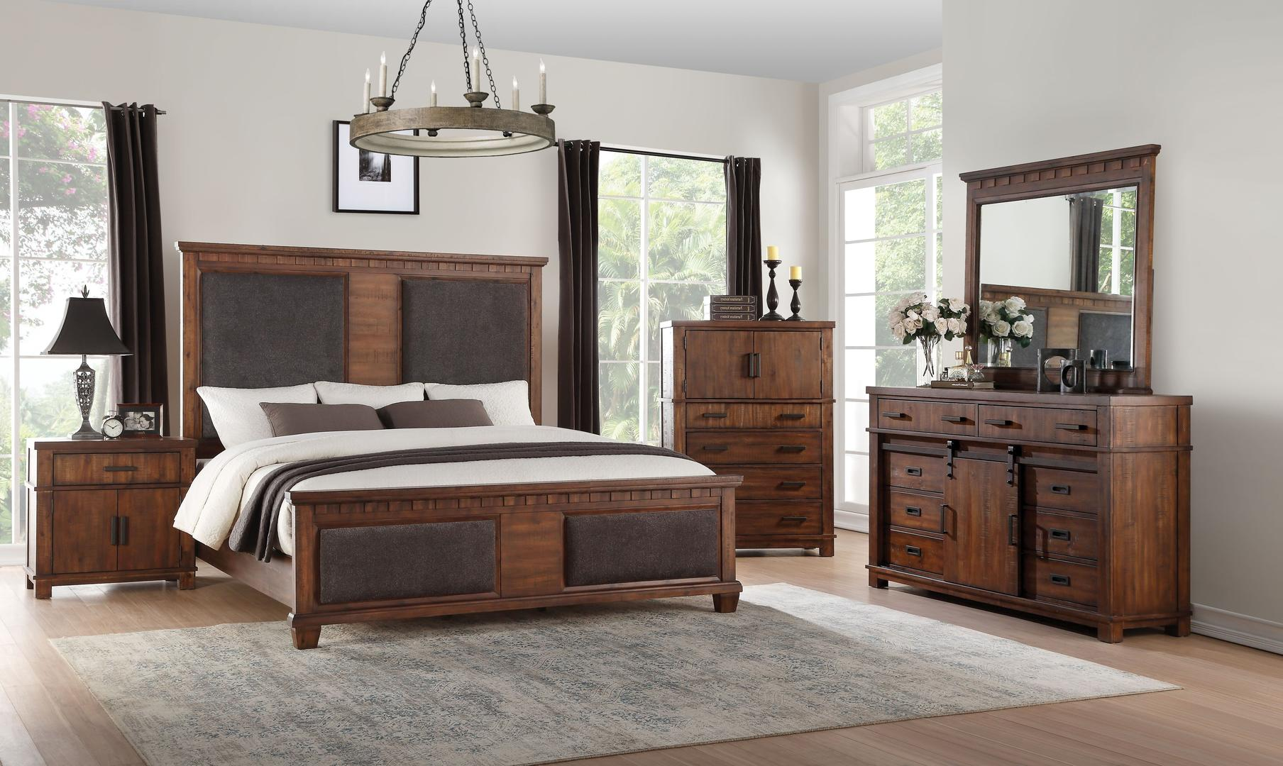 Acme 27160q Vibia Brown And Cherry Wood Finish 4 Piece Queen Bedroom S Flatfair