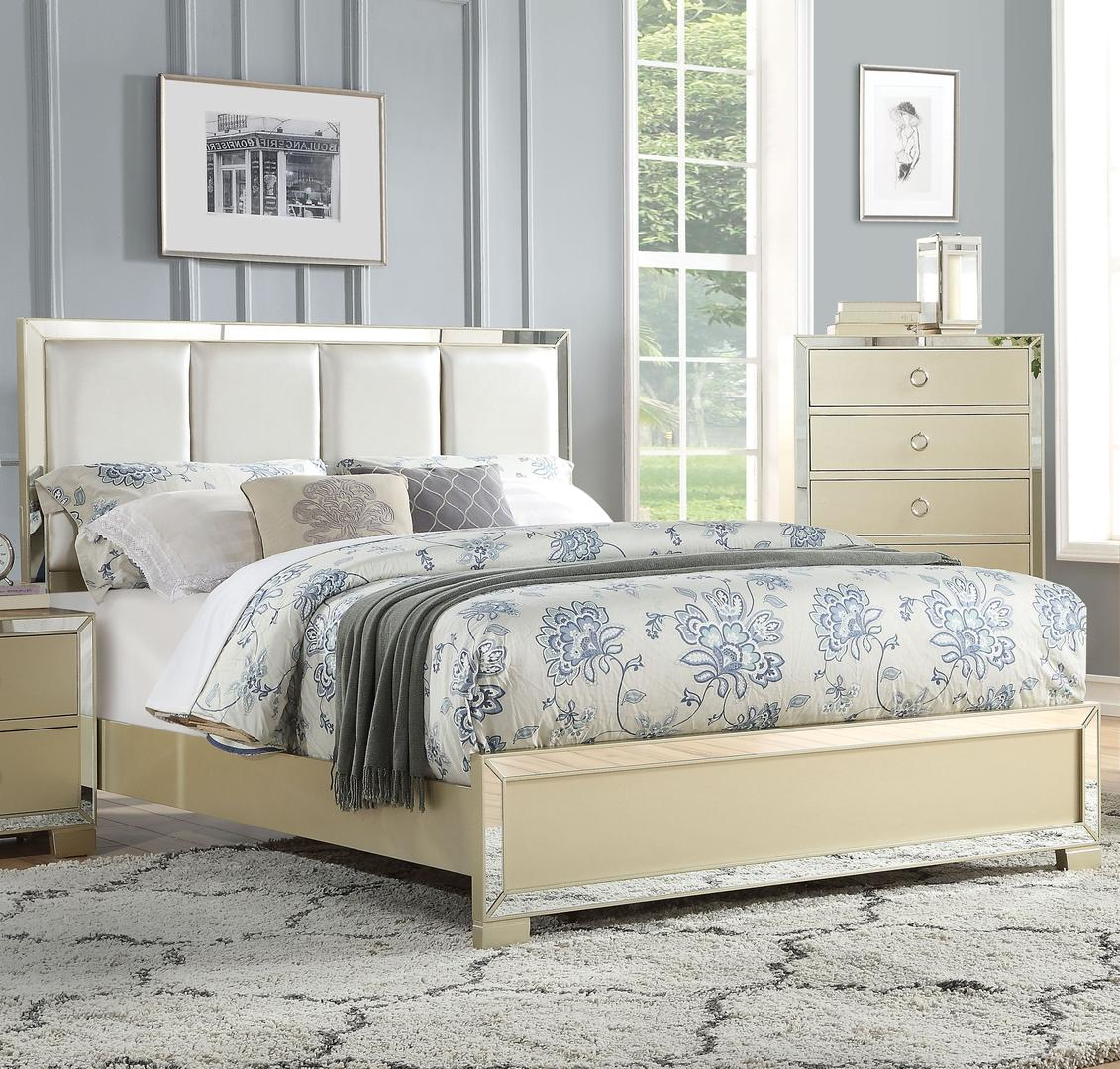 Acme 27130Q Voeville II Champagne Wood Finish Queen Bed
