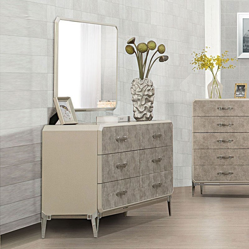 Acme 27205 Kordal Beige Wood Finish Dresser With Mirror