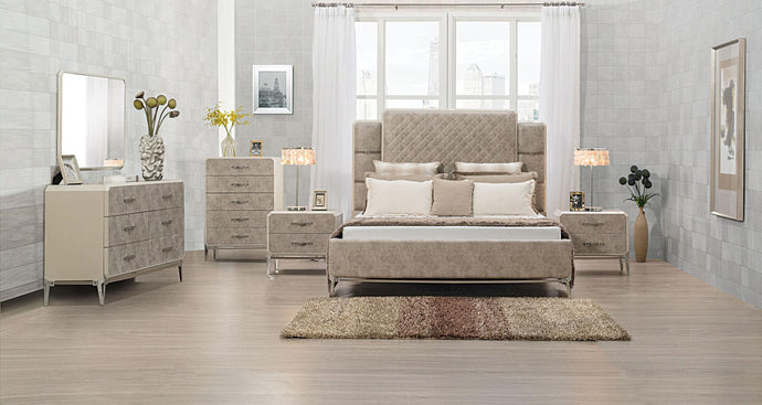 Acme 27194CK Kordal Beige Leather Finish 4 Piece California King Bedroom Set