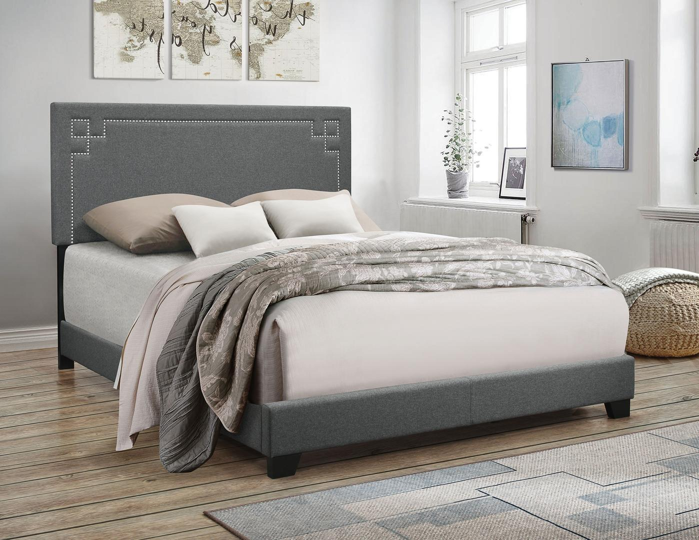 Acme 20910Q Ishiko II Gray Wood And Fabric Finish Queen Bed