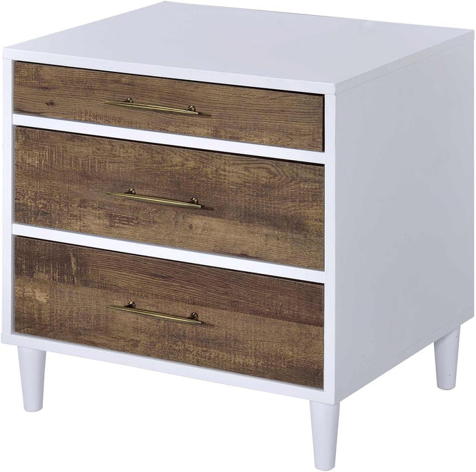 Acme 97551 Marianne White And Oak Wood Finish Nightstand