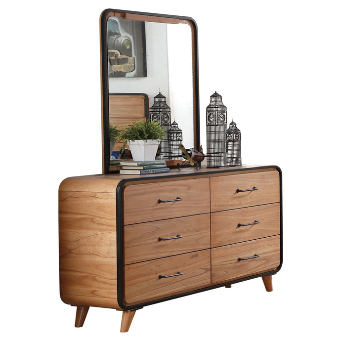 Acme 30765 Carla Oak Wood Finish Contemporary Dresser With Mirror