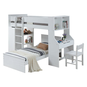Acme 30770T Ragna White Wood Finish Twin Loft Bed With Chair