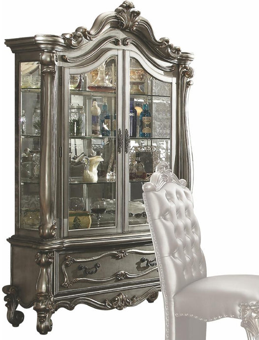 Acme 66838 Versailles Silver Wood Finish Cabinet Curio