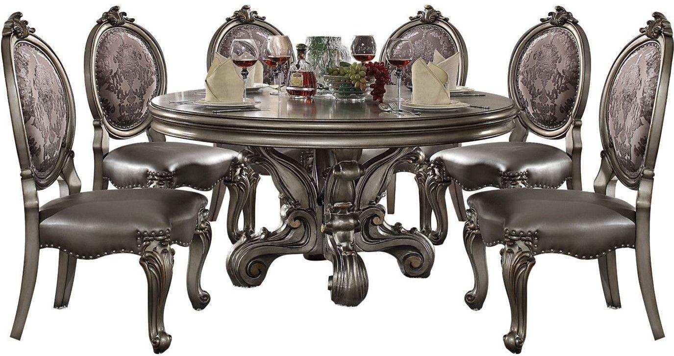 Acme 66840 Versailles Silver Wood Finish 7 Piece Round Dining Table Set