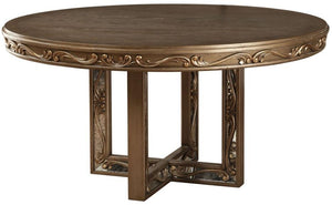 Acme 63785 Orianne Gold Wood Finish Round Dining Table