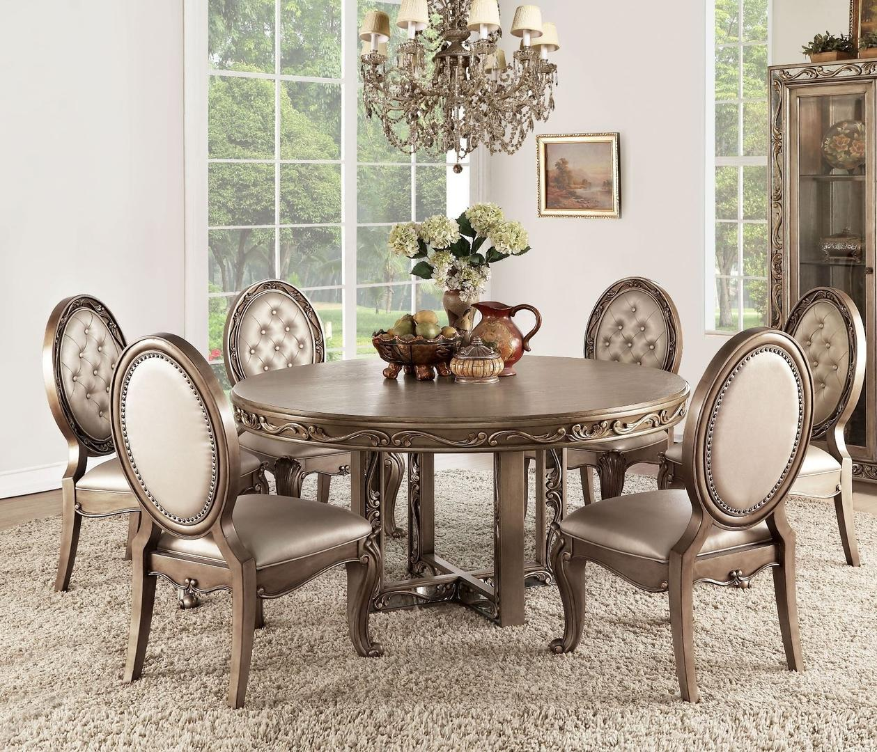 Acme 63785 Orianne Gold Wood Finish 7 Piece Round Dining Table Set