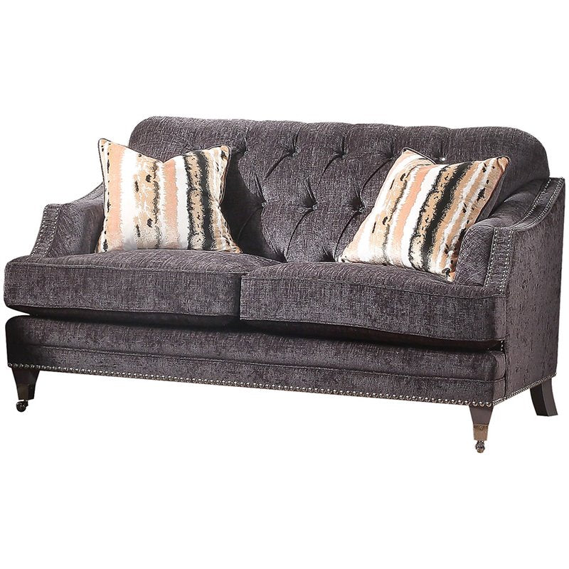 Acme 50216 Helenium Gray Chenille And Wood Finish Loveseat