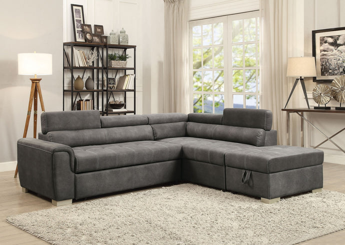 Acme 50275 Thelma Gray Microfiber Finish Sectional Sofa With Ottoman