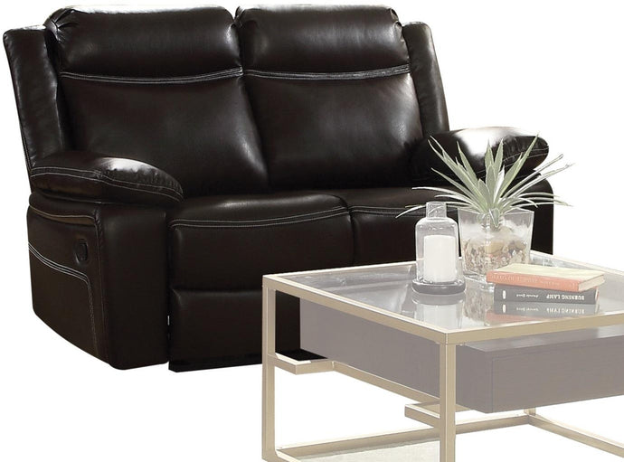 Acme 52051 Corra Black Leather Finish Contemporary Loveseat