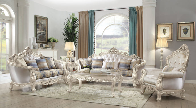 Acme 52440 Gorsedd Cream Fabric And Wood Finish 3 Piece Sofa Set