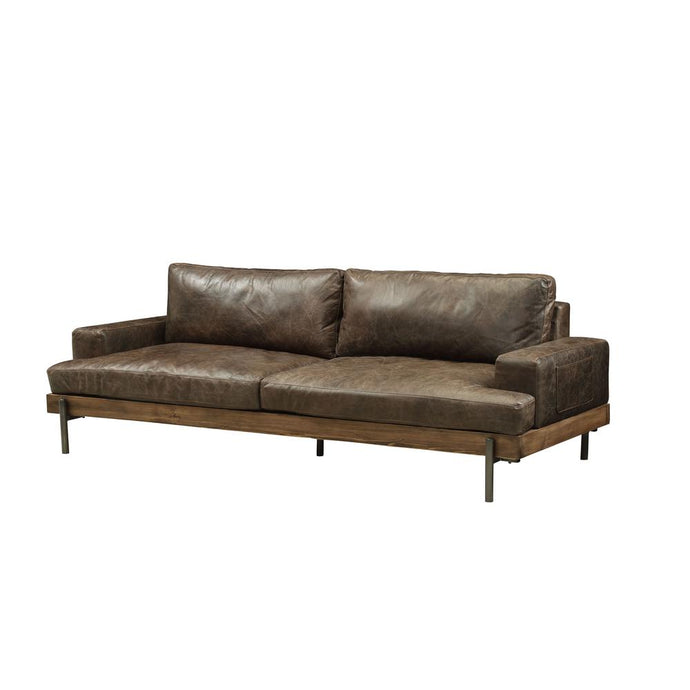 Acme 52475 Silchester Chocolate Leather Finish Sofa