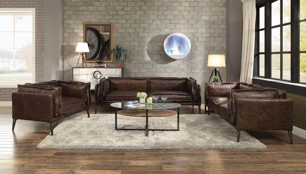 Acme 52480 Porchester Chocolate Leather Finish 3 Piece Sofa Set