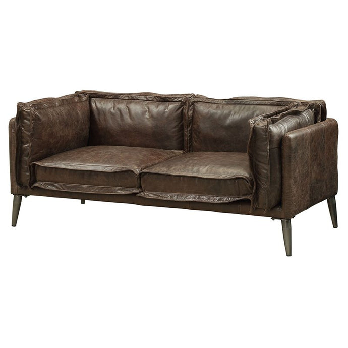 Acme 52481 Porchester Chocolate Leather Finish Loveseat