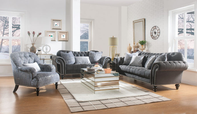 Acme 53090 Gaura Gray Velvet Finish Vintage 3 Piece Sofa Set