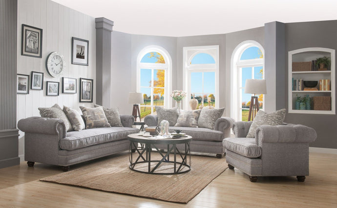 Acme 53095 Gardenia Gray Fabric Finish 3 Piece Sofa Set