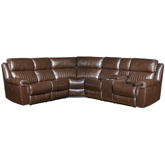 Acme 53695 Loanna Brown Leather Finish Contemporary Sectional Sofa