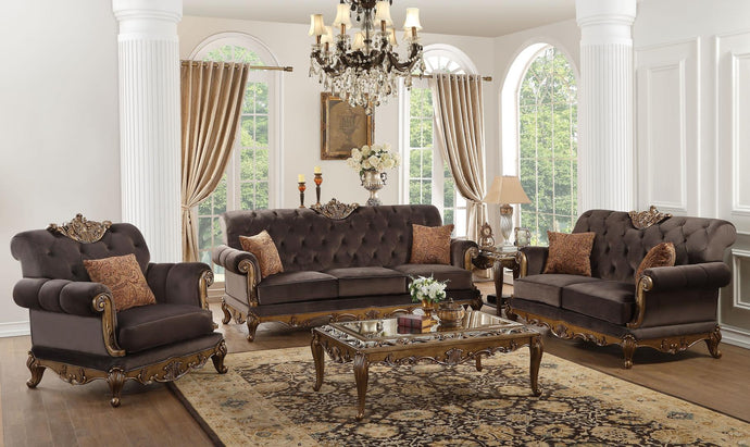Acme 53695 Orianne Gold And Charcoal Fabric Finish 3 Piece Sofa Set