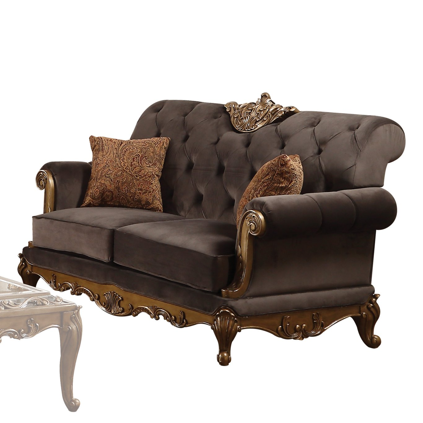 Acme 53696 Orianne Gold And Charcoal Fabric Finish Loveseat