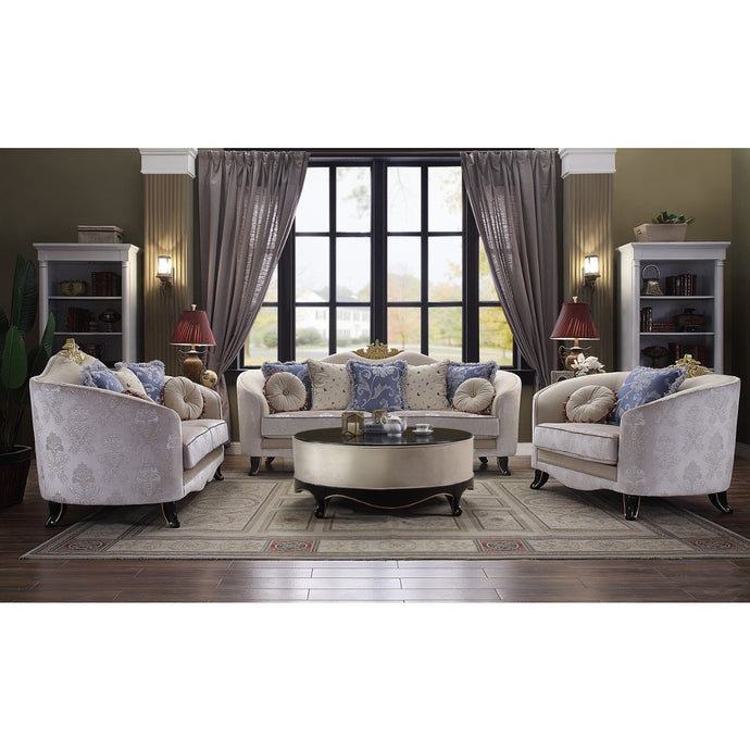 Acme 53945 Sheridan Cream Fabric Finish 3 Piece Sofa Set