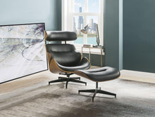 Load image into Gallery viewer, Acme 59461 Herne Black And Walnut Leather Finish Accent Chair With Ottoman