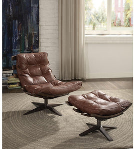 Acme 59530 Gandy Brown Leather Finish Accent Chair With Ottoman