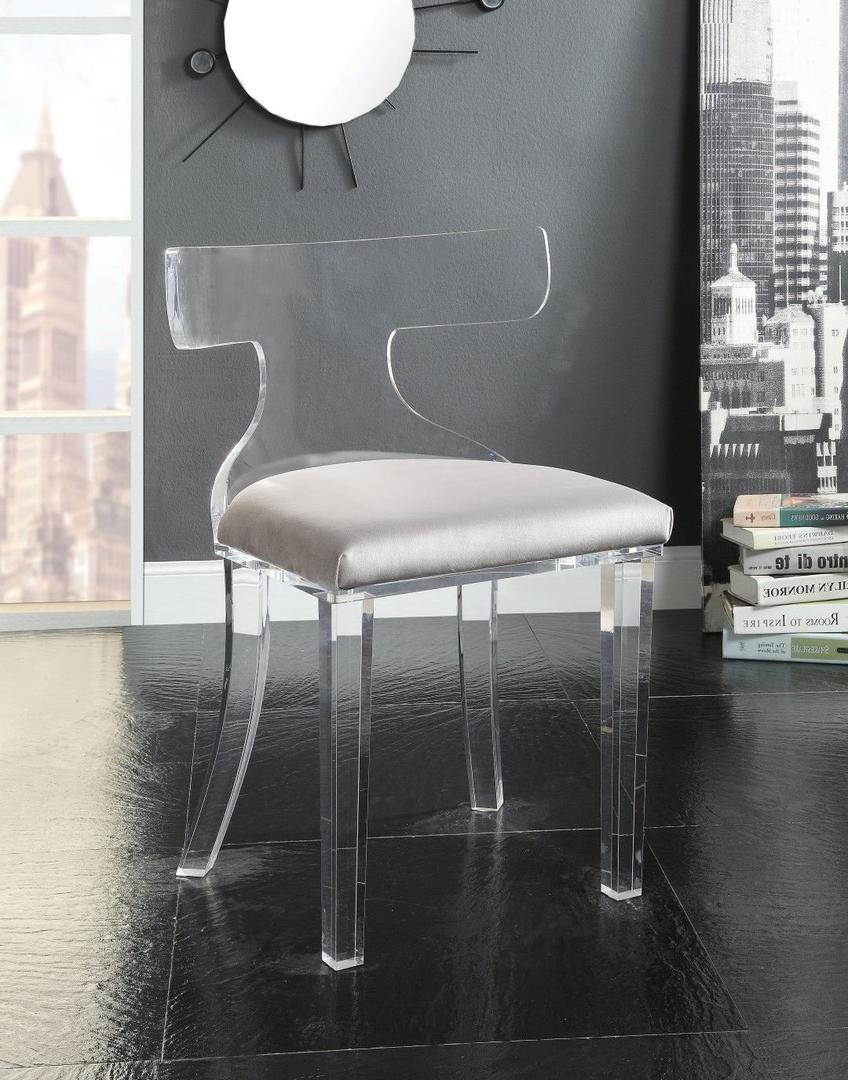 Acme 59820 Bradley Gray Velvet And Acrylic Finish Accent Chair