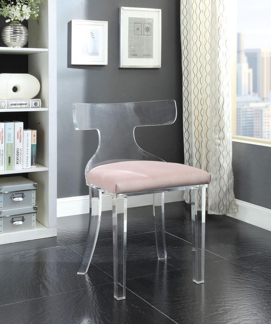 Acme 59821 Bradley Pink Velvet And Acrylic Finish Accent Chair