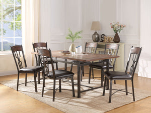 Acme 60015 Lynlee Oak And Bronze Wood Finish 7 Piece Dining Table Set