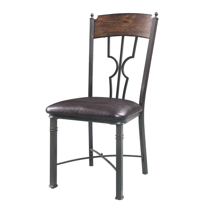 Acme 60017 Lynlee Oak And Bronze Metal Finish 2 Piece Dining Chair
