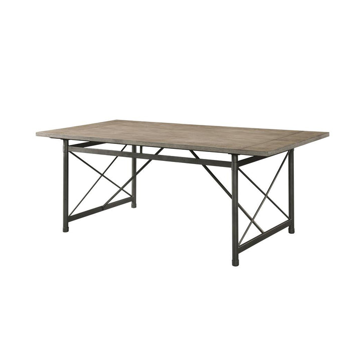 Acme Kaelyn II Gray Metal And Wood Finish Dining Table